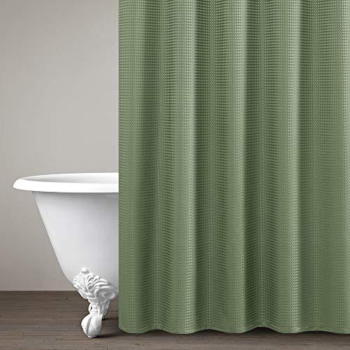 Waffel Gardinen, gewebt, strukturierte Kontingent Set von 2, Textil, olivgrün, Shower Curtain |70 x 72