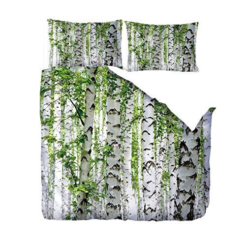 3D Bettbezug Grüne Blätter und weiße Birke Drucken Bettwäsche Set 3 Stück Bettbezug Weich hypoallergen Mikrofaser 1x (140x200 cm) Bettbezug 2x(50x75 cm) Kissenbezug Geeignet für erwachsene Kinder