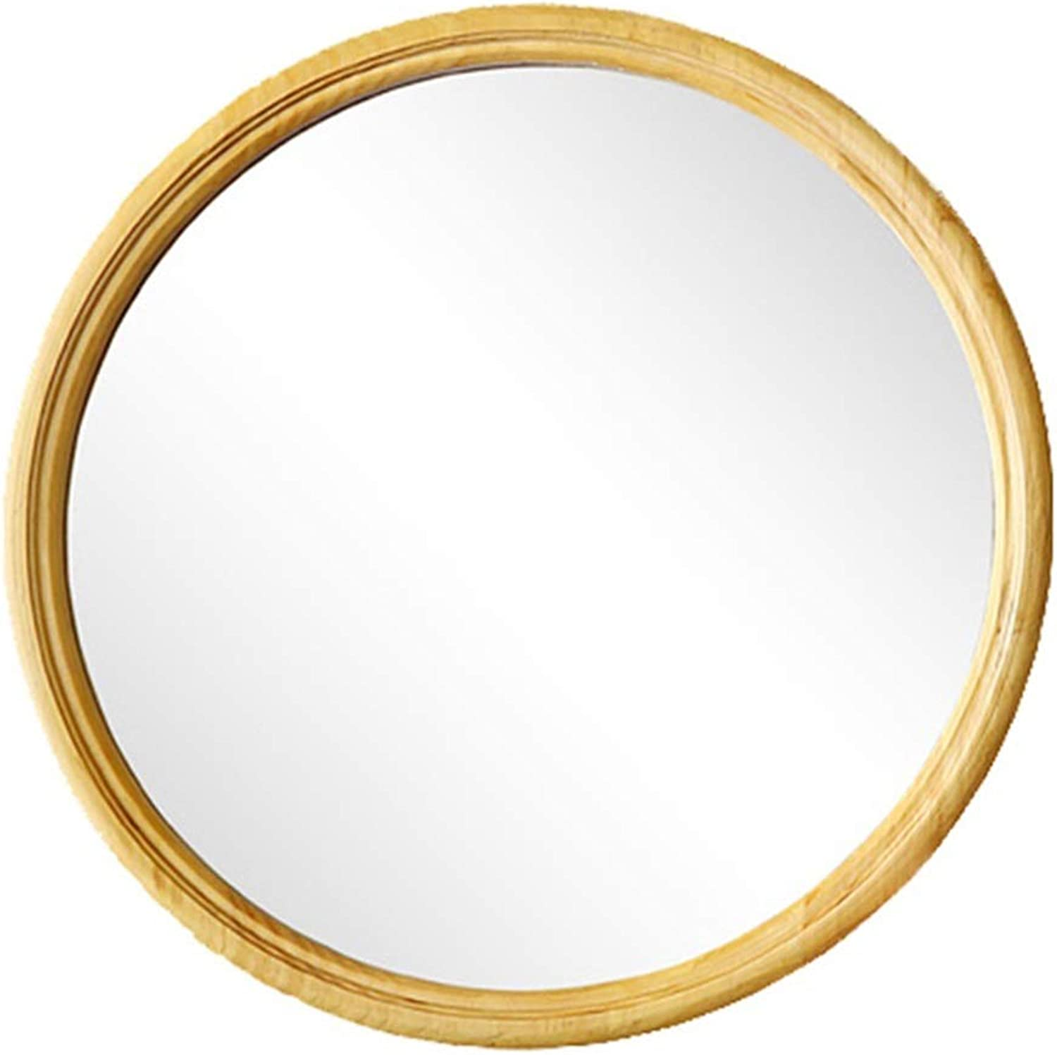 Modern Wood Circle Frame Wall Mirror   Contemporary Round Glass Panel   Vanity, Bedroom, or Bathroom   Hanging(30cm,40cm,50cm Diameter)