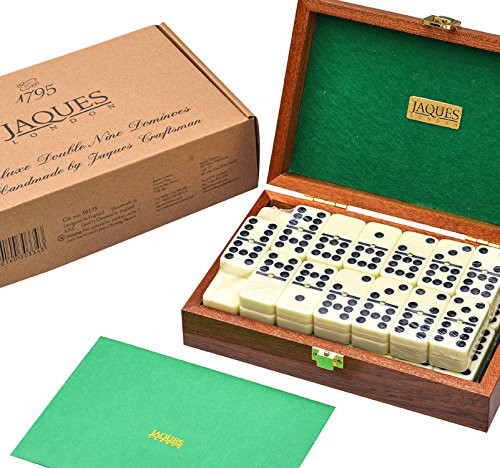 Jaques of London Luxurious Dominoes Double 9 Set - Mahogany