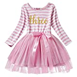 Newborn Baby Girl Princess Long Sleeve Shinny Stripe Crown Printed 1st/2nd/3rd Birthday Cake Smash Tulle Tutu Skirt Dress, Pink (3 Years), One Size