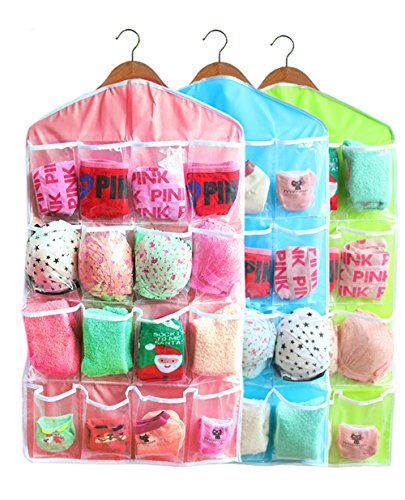 16-Pocket Hanging Closet Organizer Jewelry and Accessories Organizer, Bra Underwear Socks Ties Hanging Organizer,Shower Caddies Random color Vinyl (3-Pack)
