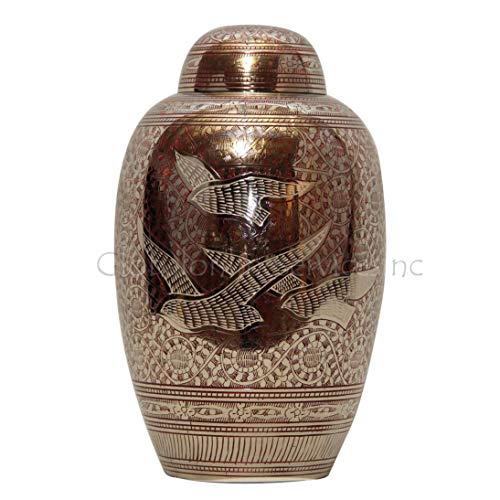 Cremation Urns Urne funéraire en laiton pour adulte Motif Going Home Rouge - Laiton