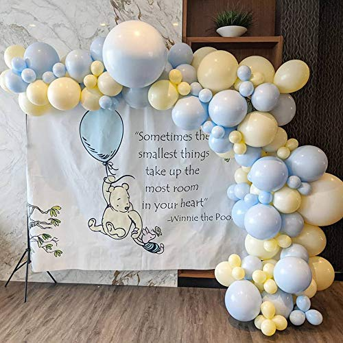 Kit de arco de guirnalda de globo, decoración de fiesta de cumpleaños, 109 globos azules y amarillos, para arco de globo, baby shower, boda, graduación, decoración de globos.