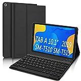 DINGRICH Funda Teclado Español Ñ para Samsung Galaxy Tab A 2019 10.1', Bluetooth Teclado Inalámbrico Extraíble Magnético para Samsung Tab A 10.1 T510/T515/T517 Negro