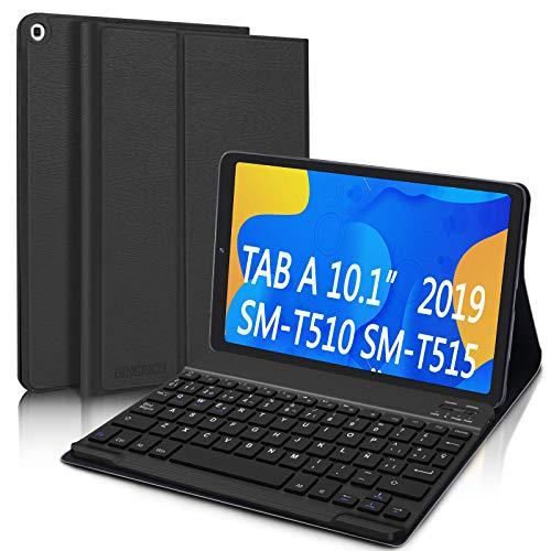 """DINGRICH Funda Teclado Español Ñ para Samsung Galaxy Tab A 2019 10.1"""", Bluetooth Teclado Inalámbrico Extraíble Magnético para Samsung Tab A 10.1 T510/T515/T517 Negro"""