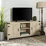 Walker Edison Furniture Company Farmhouse Barn Wood Universal Stand for TV's up to 64' Flat Screen Living Room Storage Cabinet Doors and Shelves Entertainment Center, 58 Inch, White Oak