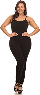 Women Stretch Cotton Spaghetti Full Length Romper Jumpsuits Unitard Bodysuits (&Plus)