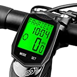 DINOKA Bike Computer Wireless Waterproof Cycling Computer Bicycle Speedometer Odometer Backlight LCD Display Tracking Distance Avs Speed Time 5 language switchable (Black)