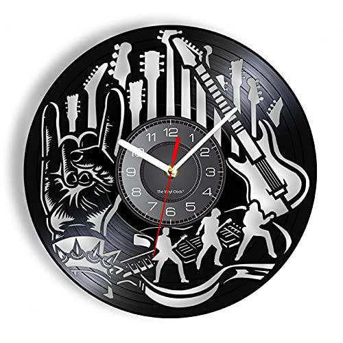 Guitarra eléctrica de Vinilo, Reloj de Pared, Disco de Heavy Metal, grabación...