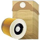 De Galen Piezas de repuesto para aspiradora Karcher Wet Dry Wd2 y 10 bolsas de polvo (color amarillo) accesorios de vacío (color amarillo)