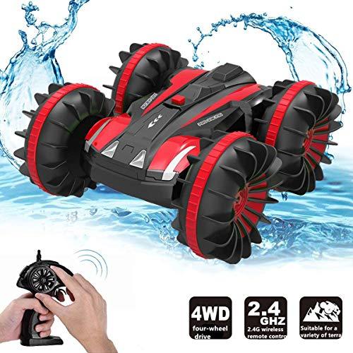 ラジコンボート RCカー 水陸両用 ラジコンカー スタントカー 高速 四輪駆動 360度回転 USB充電式 耐衝撃 子供贈り物 (赤)