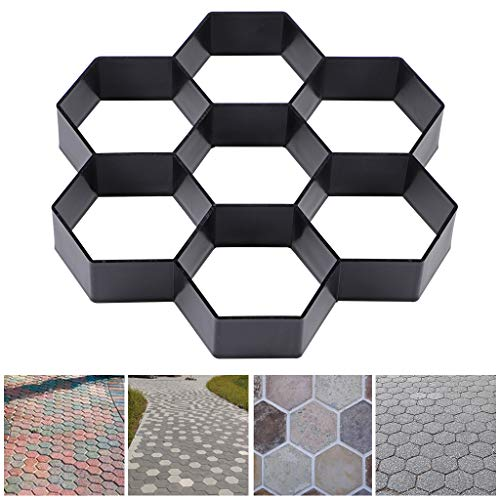 Skelang Small Hexagon Pavement Mold, Reusable Path Maker Mold, Concrete Cement Mould 11.4'×11'×1.7', Stepping Stone Mould for DIY Garden Concrete Path, Patio Lawn Walkway, Yard Floor Paving