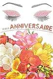 Afie 65-1236 Carte Heureux Anniversaire avec Paillettes Femme qui Sent un Bouquet de Fleurs Freesia Maquillage Mascara Fabriqué en France