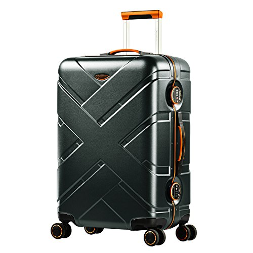 Eminent Koffer Gold Crossover M 65cm 66L Aluminiumrahmen 4 Doppelrollen 360° TSA Schloss Hartschalenkoffer Graphit/Orange