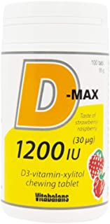 VITABALANS D-Max Vitamin D3 1200 IU Chewable Tablets, Aids in Muscle and Skeletal Growth, Lactose Free, Sugar Free, Gluten...