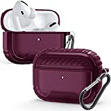 for Air Pods Pro 2019 Shockproof Case Matte Cover with Keychain Rugged Armor Protector LED Visible (Burgundy)