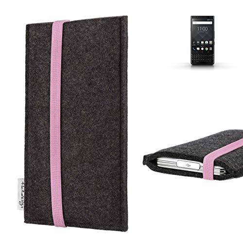 flat.design vegane Handy Tasche Coimbra für BlackBerry KEYone Black Edition - Schutz Hülle Tasche Filz vegan fair rosa