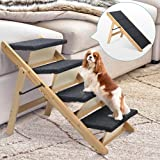 MELLCOM 4-Step Pet Stairs 2-in-1 Dog Steps & Ramp with Nonslip Surface Foldable Wood Pet Ladder for Punny to Large Dog Portable Pet Steps for Bed Sofa Windowsill and Car