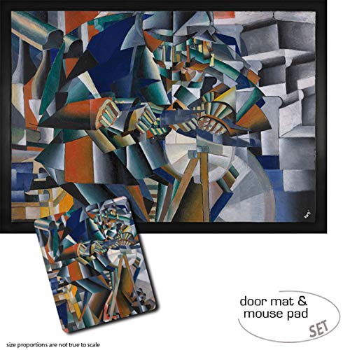 1art1 Kasimir Malewitsch, Der Messerschleifer Prinzip des Flimmerns, 1913 | Fußmatte Innenbereich und Außenbereich | Design Türmatte (70x50 cm) + Mauspad (23x19 cm) Geschenkset