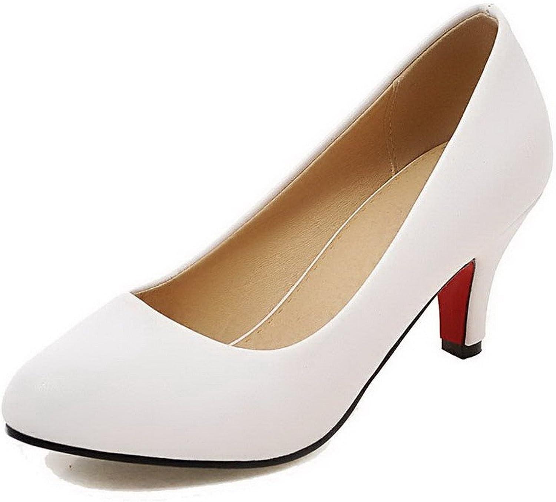 AllhqFashion Women's Kitten-Heels Solid Pu Round-Toe Pumps-shoes