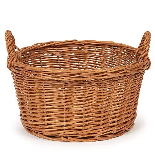 TYSK Design Küchenkorb medium (Größe und Form wählbar) 25 cm Durchmesser - Obstkorb, Gemüsekorb, Korb geflochten aus Weide