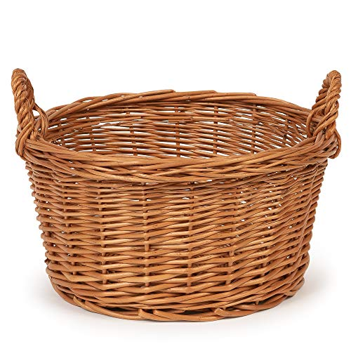 TYSK Design - Cesta de cocina (tamaño y forma a elegir), 25 cm de diámetro, cesta para frutas, verduras, cesta trenzada de mimbre