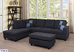 "Left-facing sectional modern sofa Sectional sofa overall approximately dimension: 105"" x 76"" x 33"" high Storage orroman approximately dimension: 35"" x 24"" x 16""high Sofa upholstery material: Linen Package Included: 3-piece sectional sofa set with a s..."