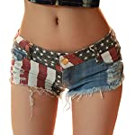 Women's Sexy Destroyed Ripped Micro Stretch  Mini Denim Shorts Low Rise Cheeky Jean Short Hot Pants