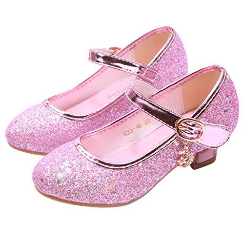YOSICIL Niña Baile Zapatos de Tacón Elsa Frozen de Princesa Zapatos de Cumpleaño Fiesta,Playa,Vacaciones,Cosplay, Carnaval,Fiesta de Princesa 28-38EU