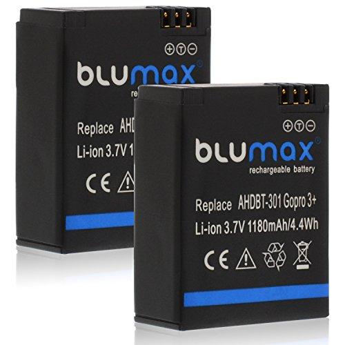 Blumax 2X Akku 1180mAh - ersetzt GoPro Hero 3 Plus 3+ / 3 Black, Silver, White - AHDBT-201, AHDBT-301, AHDBT-302, AHBBP-301, ACARC-001, AWALC-001