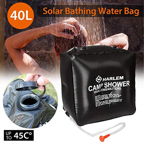 Review N/Y Portable Solar Shower Bag,Camp Shower Bag 10 Gallons/40L with Removable Hose and On-Off S...