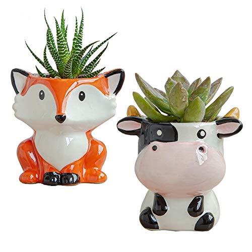 Plushfarm Nordic Nuevo CERÁMICA CERÁMICA FLORÁPOT Dibujos Animados Zebra Ovejas Cabeza de Vaca Mini Flowerpot Planta suculenta Bonsai Flowerpot Decoración del hogar (Color : Sheep)
