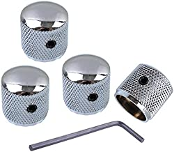 Metal Volume Tone Dome Tone Guitar Speed Control Knobs With Allen Keys Screws Set for Fender Strat Telecaster Gibson Les Paul Electric Guitar or Bass, Chrome Pack Of 4 Pcs,MusicOne