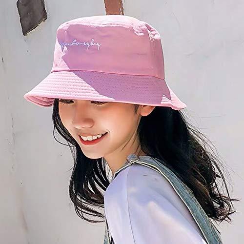 Jyuesi Herren Damen Bucket Hats Japan und Korea Street Style Harajuku Buchstaben Print Streamers Schnürkappe Damen Sommer Sonnenhut Herren Bucket Hats, American Football, rose