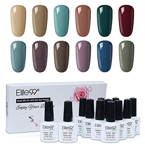 Elite99 Nagellacke UV Kit 10ML, Nagellack UV Gel Nägel Set, UV LED Soak Off Gellacke, 12 Stück Lacke Set - Winter Kollektion Nagellack