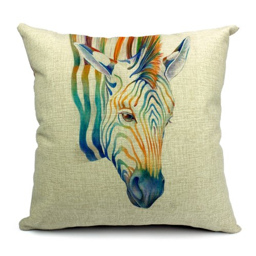 Dream Poens daunitas - Wild Life Animals Printed Linen Cushion Cover Zebrato