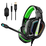 Fachixy Cuffie Gaming per Xbox One PS4, Cuffie da Gioco con Microfono, Multi-Platform Riduzione del Rumore con Stereo Bassi Profondi RGB per PC,PS5,Laptop Xbox One,Switch,Mac,Smart Phone verde