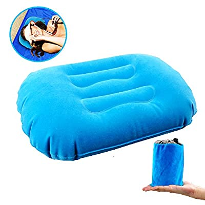 kamlif Camping Pillow, Backpacking Pillow Inflatable Camping Pillow for Neck & Lumber Support,Portable Inflating Travel Compressible Pillow for Hiking,Airplane,Train,Car,Office (Blue)