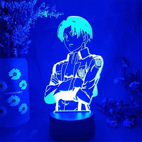 Optische 3D-Illusion, Nachtlicht, Attack On Titan, 16 Farbwechsel, mit Fernbedienung, für Geburtstag, Weihnachten, Geschenke für Kinder, Mädchen und Erwachsene, Heimdekoration