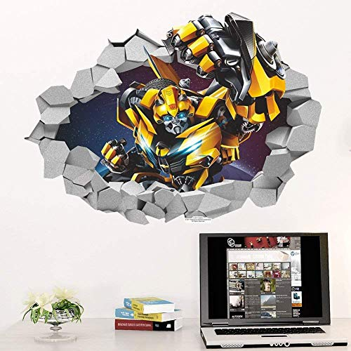 BAOWANG Wandsticker 3D Bumblebee Transformers Abziehbild Removable Break Wandaufkleber Kinderzimmer Dekor