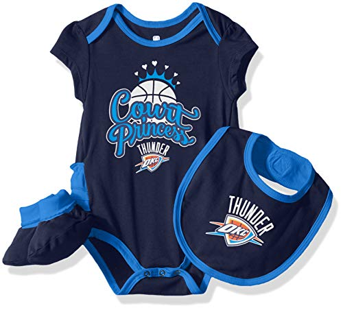 NBA by Outerstuff NBA Newborn & Infant Oklahoma City Thunder 'Mini Trifecta' Bodysuit, Bib & Bootie Set, Dark Navy, 6-9 Months
