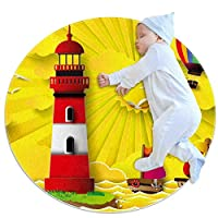 エリアラグ軽量 灯台セーリング フロアマットソフトカーペット直径39.4インチホームリビングダイニングルームベッドルーム