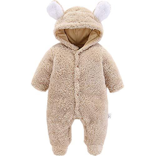 Morbuy Morbuy Baby Overall Strampler Unisex Baby Strampelanzugmit Kapuze Schneeanzüge Fleece Strampler Spielanzug Footed Jumpsuit Winter Onesie Outfits (73cm (9M), Kamel)