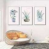 Set de tres láminas-50x70x3,9,Set de 3 láminas Decorativas para salón, Comedor, habitación, Dormitorio, Pasillo. Set de 3 Posters Modernos en tamaño Estilo acuarela y tonos pastel Sin Marco