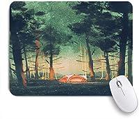 ECOMAOMI 可愛いマウスパッド 星やホタルと夜の森でキャンプ 滑り止めゴムバッキングマウスパッドノートブックコンピュータマウスマット