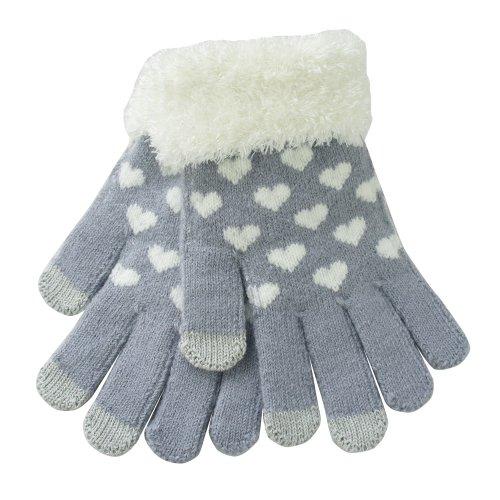 Nsstar Damen/Mädchen Handschuhe, warm, Herz-Motiv, flauschig, gestrickt, Touchscreen-kompatibel mit leitfähigen Fingerspitzen, für iPhone/iPad/Samsung/Touchscreens aller elektronischen Geräte