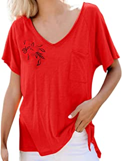 OULSEN Women Summer Fashion T-shirt Short Sleeve V Neck Simple Embroidered Leisure Comfort Top Tee Blouse Women Plus Size