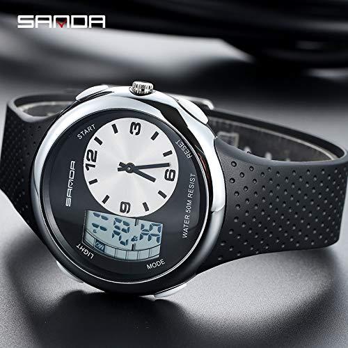 SJXIN Coole stilvolle Sanda-Uhr, Sanda Herrenuhr mit doppelter Anzeige und leuchtender elektronischer Uhr Sportuhren (Color : 5)