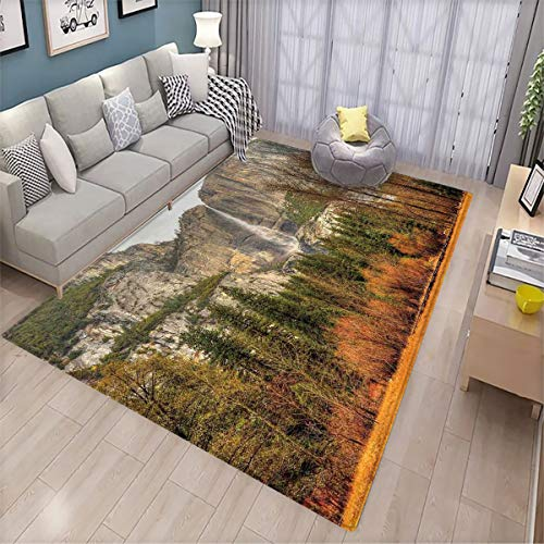 Yosemite Floor mats in The Villa Yosemite Falls Trees Mountain Cliff Autumn National Park California Nature Print Front Door mat Non-Slip 5.6'x6.6' Orange Green